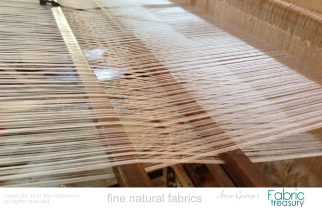 Summer Ice on the loom. Handwoven by masters on vintage looms.